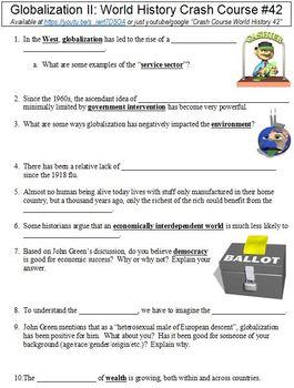 Crash Course World History #42 (Globalization II) worksheet