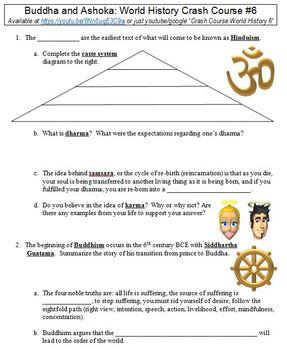 Crash Course World History #6 (Buddha and Ashoka) worksheet by Danis ...