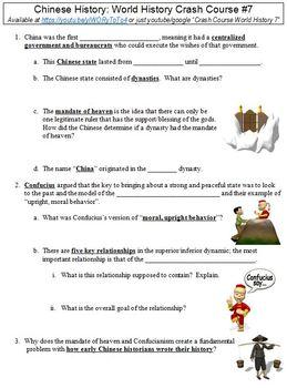 Crash Course World History #7 (Chinese History) worksheet