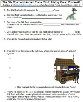 World History Crash Course #9 (The Silk Road and Ancient Trade) worksheet