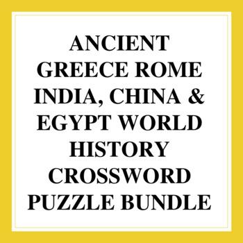 World History Crossword Puzzles: Ancient Greece, Rome, India, China & Egypt