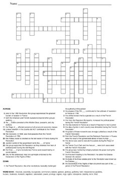 World History Crossword Puzzles: French Revolution, Imperialism & More