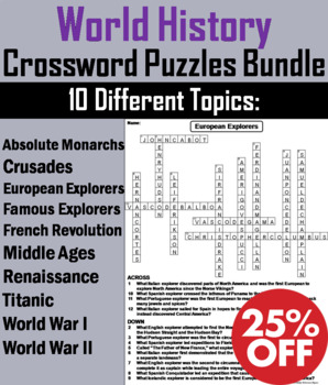 World History Crossword Puzzles: Middle Ages, Crusades, World War I & II