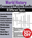 World History Crossword Puzzles Bundle: Middle Ages, Crusades, World War I & II