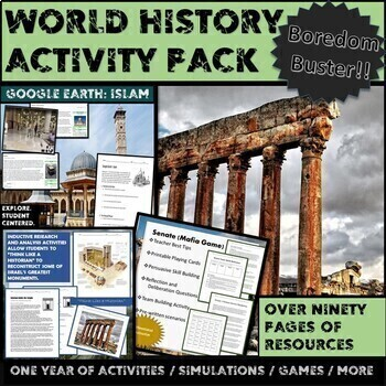 World History:  DBQ, Research, Inquiry Based, Mapping, and Simulation Bundle.