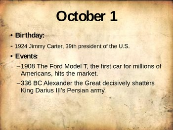 World History Daily Facts PowerPoint (October)