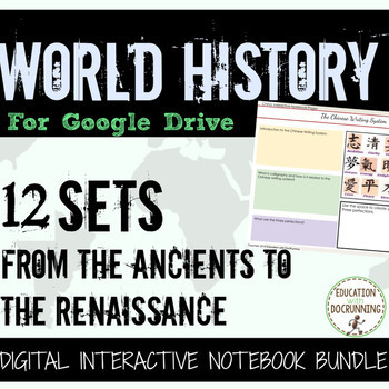 World History Digital Notebook Ancients to Renaissance for Google Drive 12 Sets!