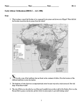 World History-Early African Civilizations (2000 B.C. -A.D. 1500) Essay Questions