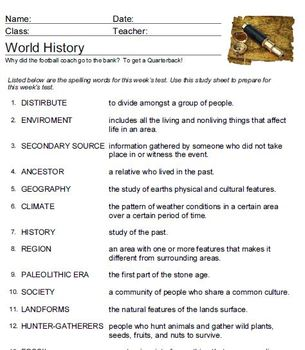 World History Early Civilization Vocabulary Practice