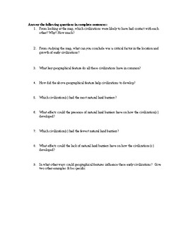 World History Early Civilizations & Human Migration Map Assignment/Activity