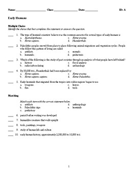 World History - Early Humans (Quiz or Study Guide)
