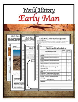 World History Early Man DBQ & Writing Prompt with Checklist Paper and Google