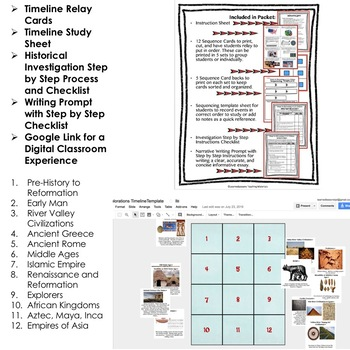 Early Man Timeline & Writing Activities Paper & Google Drive World History