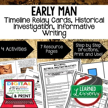 World History Early Man Timeline & Writing Activities Pape