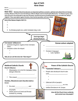 World History: Early Middle Ages Unit Interactive Notebook