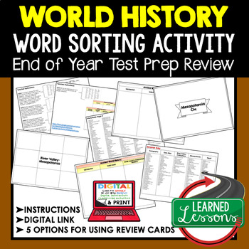 World History End of Year Review Activity World History Word Sort Back To School