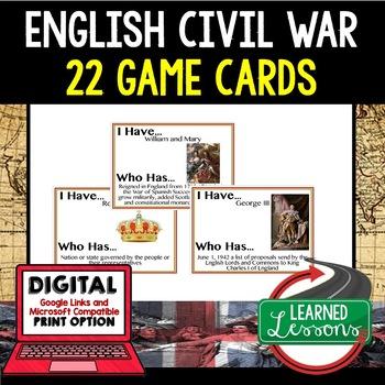World History  English Civil War & American Revolution 60  Game Cards