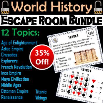 World History Escape Room Social Studies Bundle (Middle Ages, Renaissance, etc.)