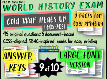 World History Exam: COLD WAR HEATS UP (60s-70s) 45 Test Qs, Common Core Inspired