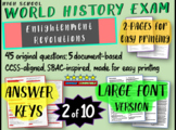 World History Exam: ENLIGHTENMENT REVOLUTIONS, 50 Test Qs, Common Core Inspired