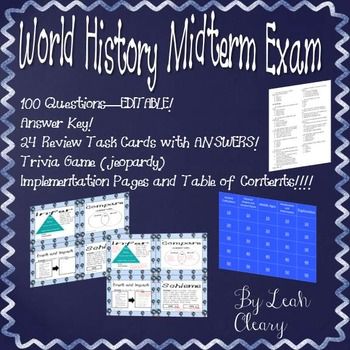 World History Exam Editable With Task Cards, Game, and Answer Keys