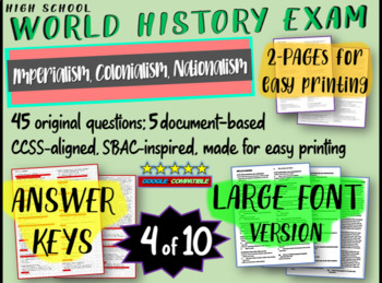World History Exam: IMPERIALISM / COLONIALISM, 45 Test Qs,