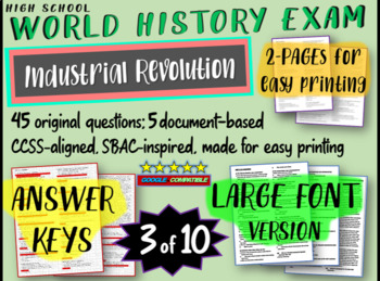World History Exam: INDUSTRIAL REVOLUTION, 45 Test Qs, Common Core Inspired