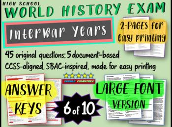 World History Exam: INTERWAR YEARS, 45 Test Qs, Common Cor
