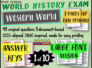 World History Exam: WESTERN WORLD, 50 Test Qs, Common Core Inspired
