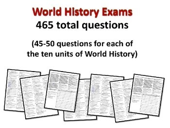World History Exam: WESTERN WORLD, 50 Test Qs, Common Core Inspired