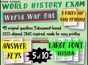 World History Exam: WORLD WAR ONE, 45 Test Qs, Common Core Inspired