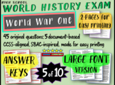 World History Exam: WORLD WAR ONE, 45 Test Qs, Common Core Inspired