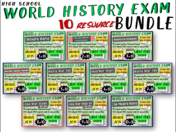 World History Exams for all 10 units: 465 questions in all
