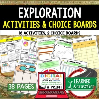 World History Explorers Choice Board Activities (Paper and Google)