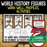 World History Figures Word Wall, Profiles, Activity Pages