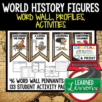 World History Figures Word Wall, Profiles & Activity Pages