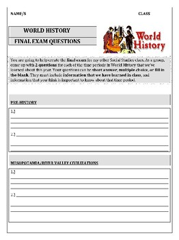 World History Final Exam Questions Activity