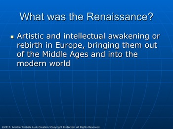 World History Final Exam REVIEW PowerPoint Renaissance to Modern Day
