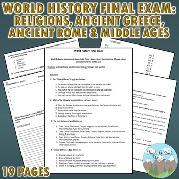 World History Final Exam: Religions, Ancient Greece, Ancient Rome, Middle Ages