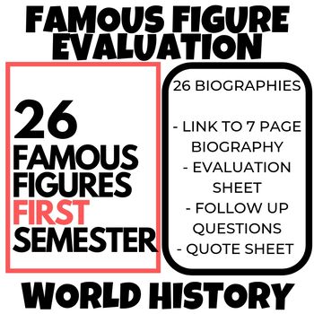 World History First Semester Famous Figure Evaluation Reading Writing Activities