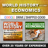World History First and Second Semester and Economics Full Semester Bundle