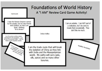 "World History Foundations ""I Am..."" Review Game Cards AP Ready"