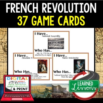 World History French Revolution 37 I Have Who Has Game Cards