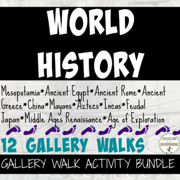 World History Gallery Walk Activity Bundle Ancients to Renaissance