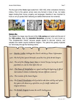World History Grade 7 - Lesson 2: Introduction to Historical Eras