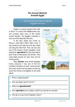 World History Grade 7 - Lesson 3: Ancient Egypt by Gordan's Corner