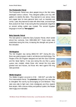 World History Grade 7 - Lesson 3: Ancient Egypt