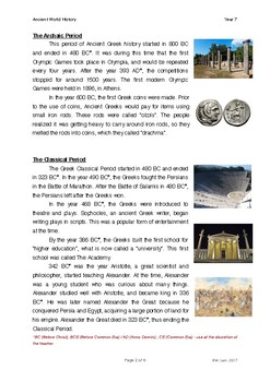 World History Grade 7 - Lesson 4: Ancient Greece