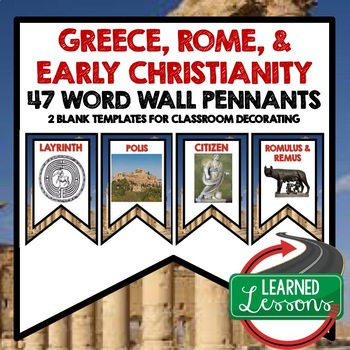 World History Greece, Rome, and Spread of Christianity Word Wall Pennants