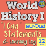 World History I Can Statement & Log Bundle! 10 units! Improve accountability!
